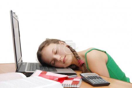 Girl the teenager has a rest from study