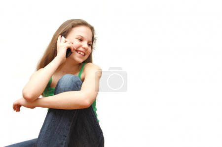Girl the teenager speaks on the phone