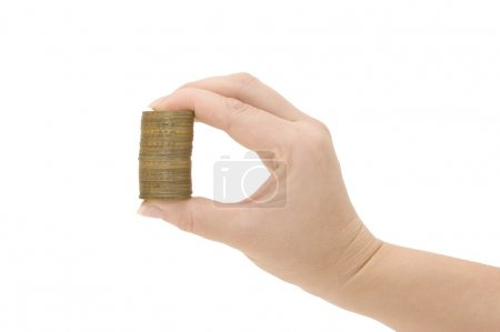 Coin in a female hand