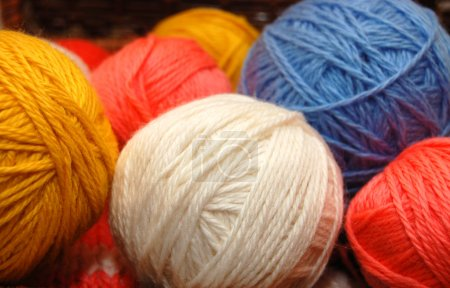 Multi-coloured balls of a wool