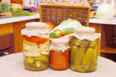 Glass jars with tinned vegetables