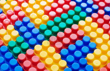 Photo for Multi-colored plastic blocks as background - Royalty Free Image