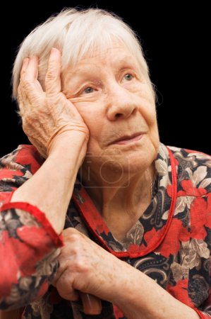 The sad old woman on the black