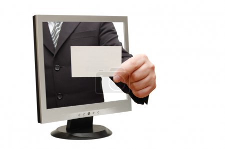 Photo for Computer flat screen monitor giving a card - Royalty Free Image