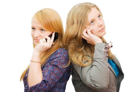Foto de Dos chicas aisladas sobre fondo blanco - Imagen libre de derechos