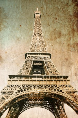 Eiffel tower - picture in retro style