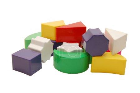 Plastic multi-coloured geometrical figures