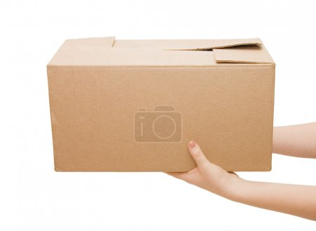 Hands with box isolated on white