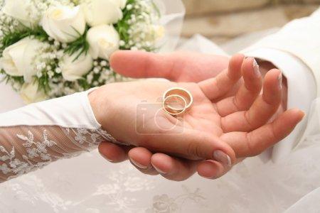 Photo pour Anneaux de mariage sur un palm - image libre de droit