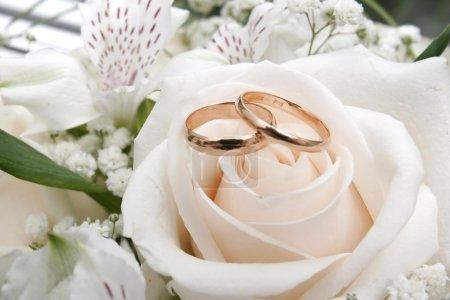 Photo pour Bagues en or sur un bouquet de roses - image libre de droit