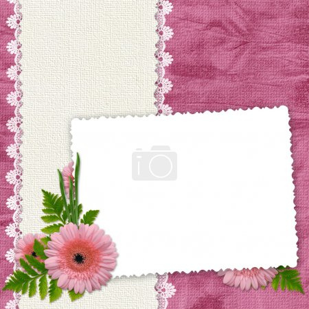 White frame with flowers and plants on t