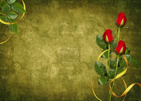 Card for the holiday with red rose