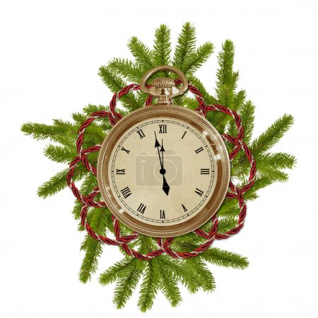 Antique clock face with branches