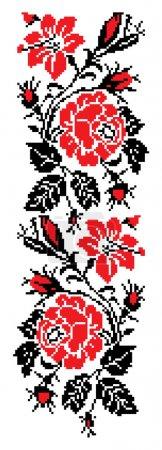 Illustration pour Image vectorielle de couleur de fleurs (roses) à l'aide des éléments de la broderie traditionnelle ukrainienne. peut servir de pixel-art. - image libre de droit