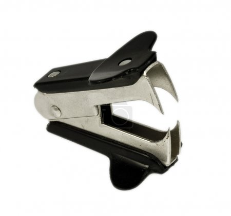 Photo for A new black staple remover isolated on white - Royalty Free Image