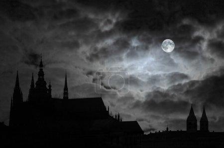 Full Moon over old castle, vampires are thursty fo...