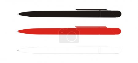 Illustration for The black, red, white pen. side face. on a white background - Royalty Free Image
