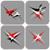 Flying and dancing stars Icons set
