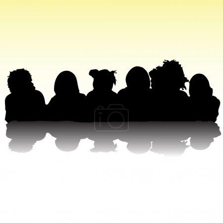 Kids portrait silhouettes