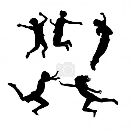 Kids silhouettes jumping high