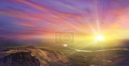 Photo for Colourful sunset in mountains, a panorama - Royalty Free Image
