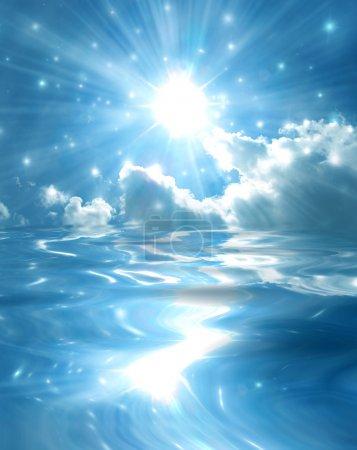 Photo pour Scintillant le ciel étoilé se reflète dans une surface lisse de miroir bleu pur lac - image libre de droit