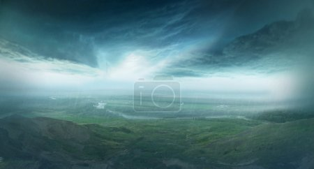 Photo for Panorama, rain in mountain district, Russia Nevinnomyssk - Royalty Free Image