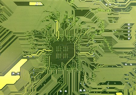 Photo for Macro of printed circuit board - computer motherboard - Royalty Free Image