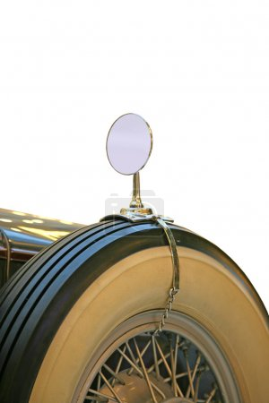 Spare wheel and mirror retro car