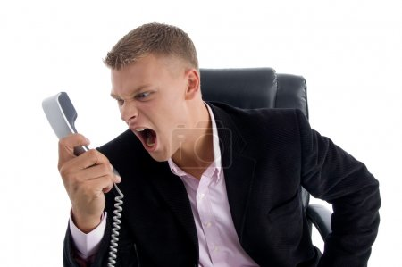 Angry manager shouting on phone
