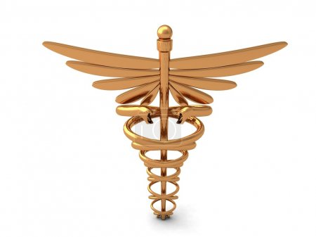 Photo for Front view of golden caduceus sign on an isolated background - Royalty Free Image