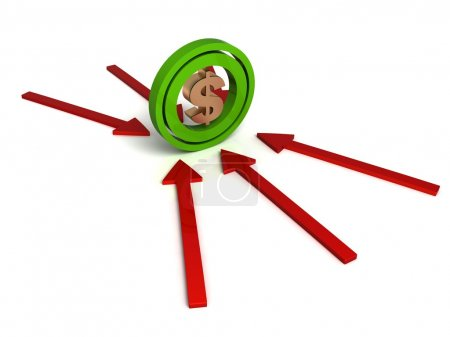 Photo pour Signe isolé en trois dimensions dollar sur les flèches - image libre de droit