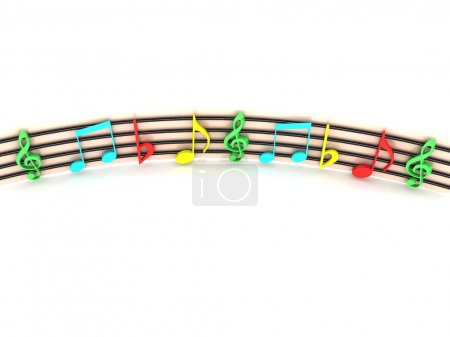 3d colorful musical notes