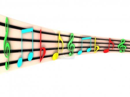 Photo pour Isolé trois dimensions clefs musicales colorés - image libre de droit