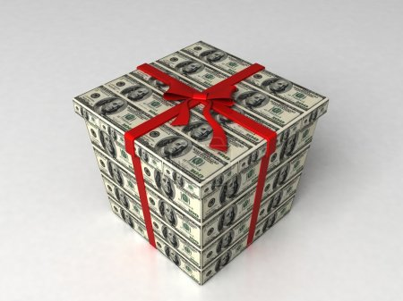 3d gift box wrapped in dollar bills