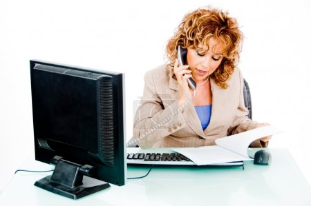 Woman busy on phone call