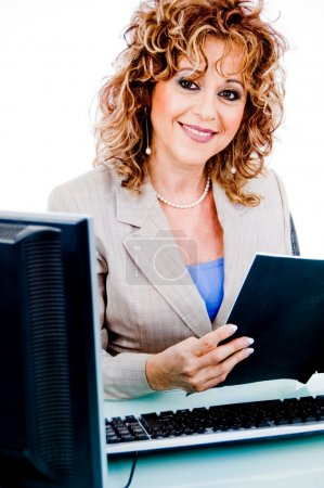 Corporate woman holding file