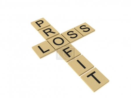 3d cross words showing profit and loss
