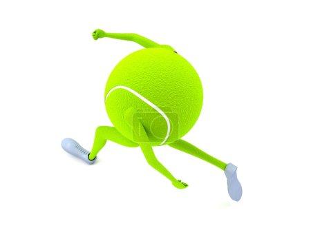 3d isolated running tennis ball
