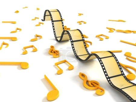 Photo pour Isolé trois dimensions rouleau négative avec des notes de musique - image libre de droit