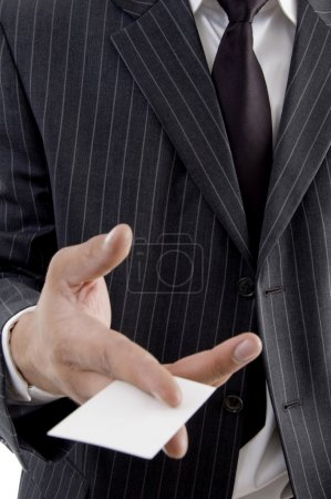 Business card in man's hand