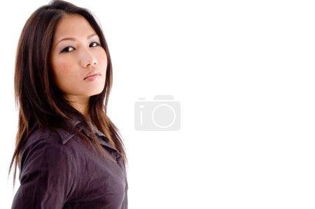Portrait of beautiful young female model