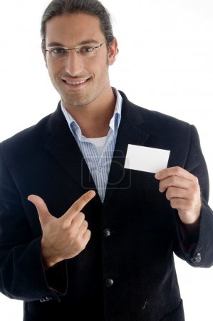 Boss pointing towards business card
