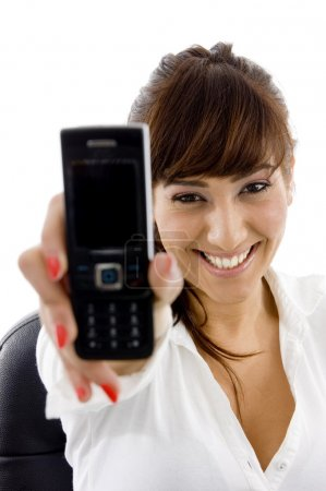 Businesswoman showing her cell phone