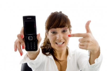 Female accountant showing cell phone