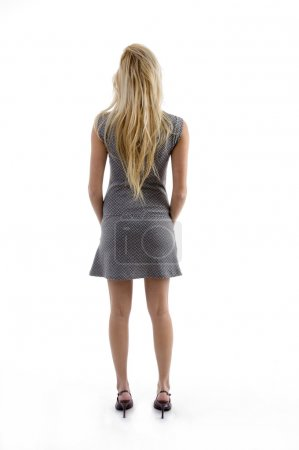 Back pose of blonde woman