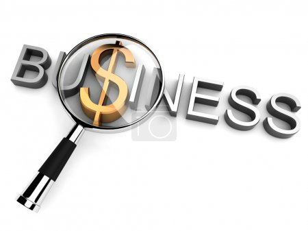 3d business text with magnifier