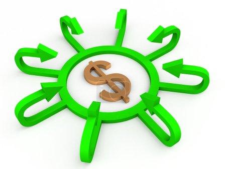 Photo pour 3d dollar signe entouré de flèches vertes sur fond blanc - image libre de droit