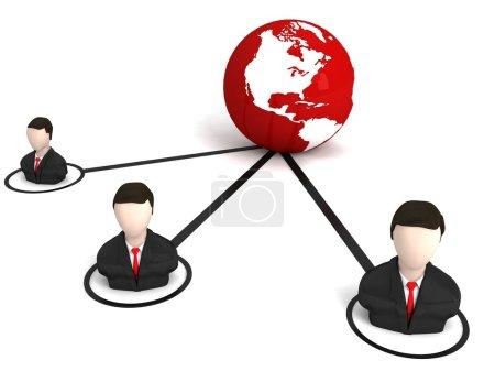 Photo pour Hommes d'affaires 3D isolés avec globe terrestre - image libre de droit