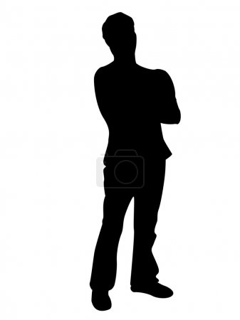 Silhouette of man with folded arms